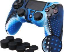 BORCHIE silicone custodie cover pelle antiscivolo per PS4, colore blu + grips pollici x8